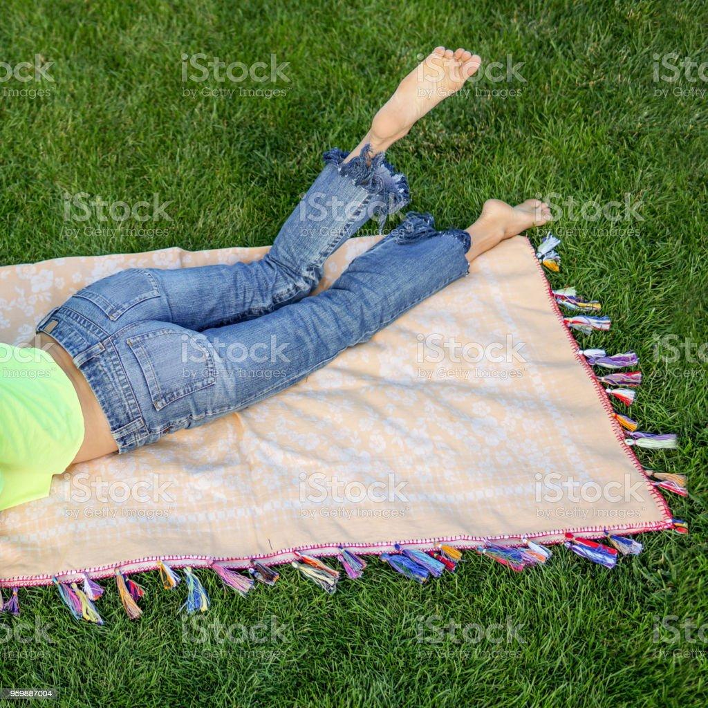 Woman enjoying picnic concept stock photo