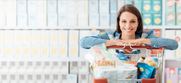Woman enjoying shopping stock photo