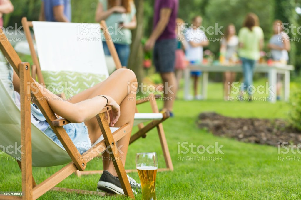 Woman enjoying summer vacation party stock photo