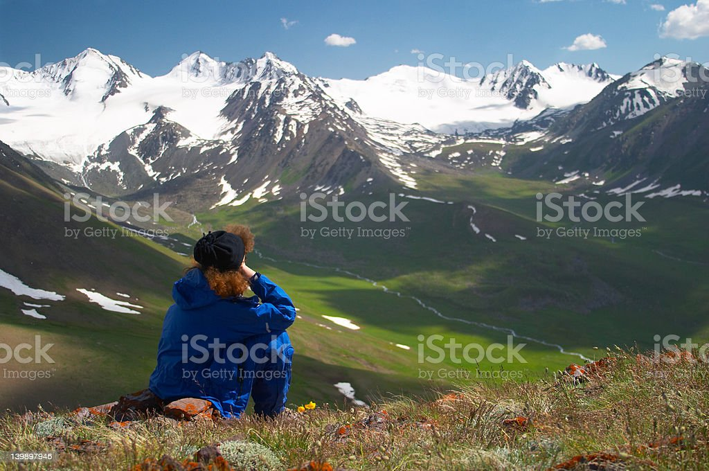 Woman enjoying the mountain view 2 royalty-free stock photo