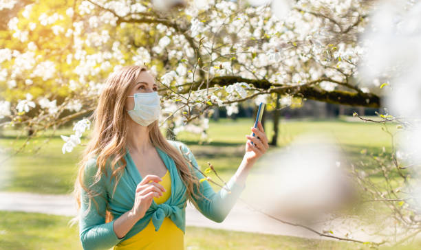 Woman enjoying the spring blossom despite the Coronavirus crisis Woman enjoying the spring blossom despite the Coronavirus crisis taking picture with her phone despite stock pictures, royalty-free photos & images