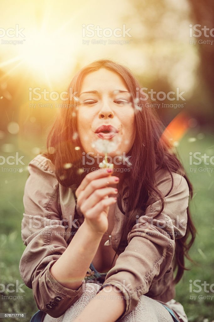 Woman enjoying the summer stock photo