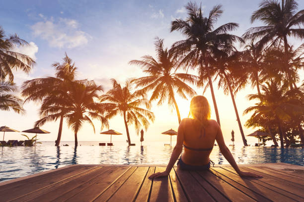 Woman enjoying vacation holidays luxurious beachfront hotel resort picture id883117662?b=1&k=6&m=883117662&s=612x612&w=0&h=zc42ny4wxgzp7ukdo2uhhumib7 2cznuvne3jukmeq0=