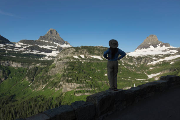 woman enjoys glacier national park going-to-the-sun road reynolds clements mountain montana - logan pass stock pictures, royalty-free photos & images