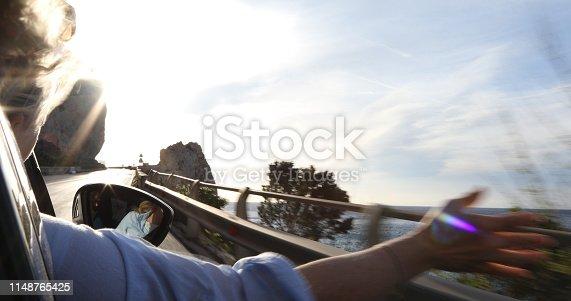 While driving along coastal road