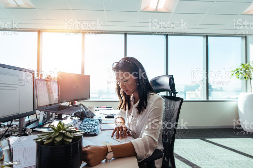 Woman entrepreneur at work in office. stock photo