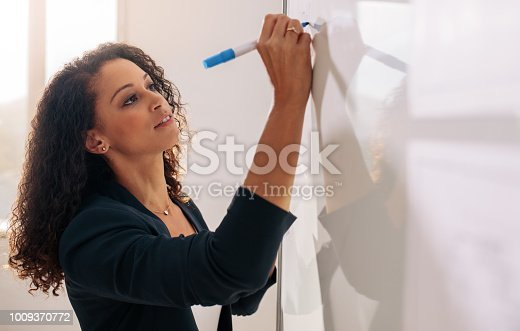 Businesswoman writing on a whiteboard using a marker pen. Woman entrepreneur discussing business ideas and plans on a board in office.