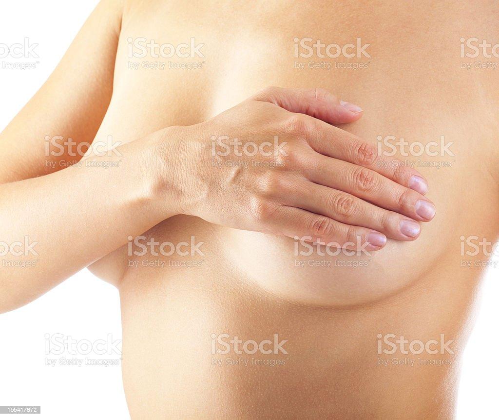 woman examining her breast royalty-free stock photo