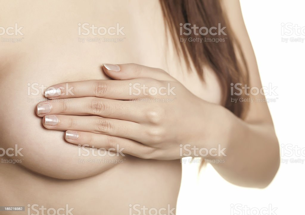 Woman examining her breast royalty-free stock photo