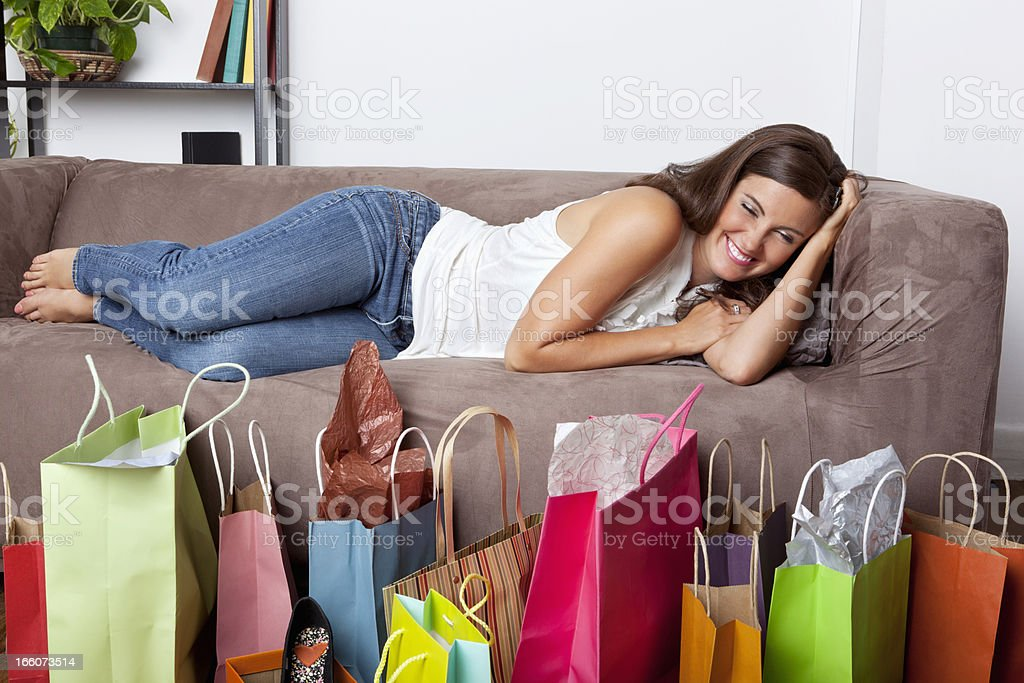 Woman excited about her shopping royalty-free stock photo