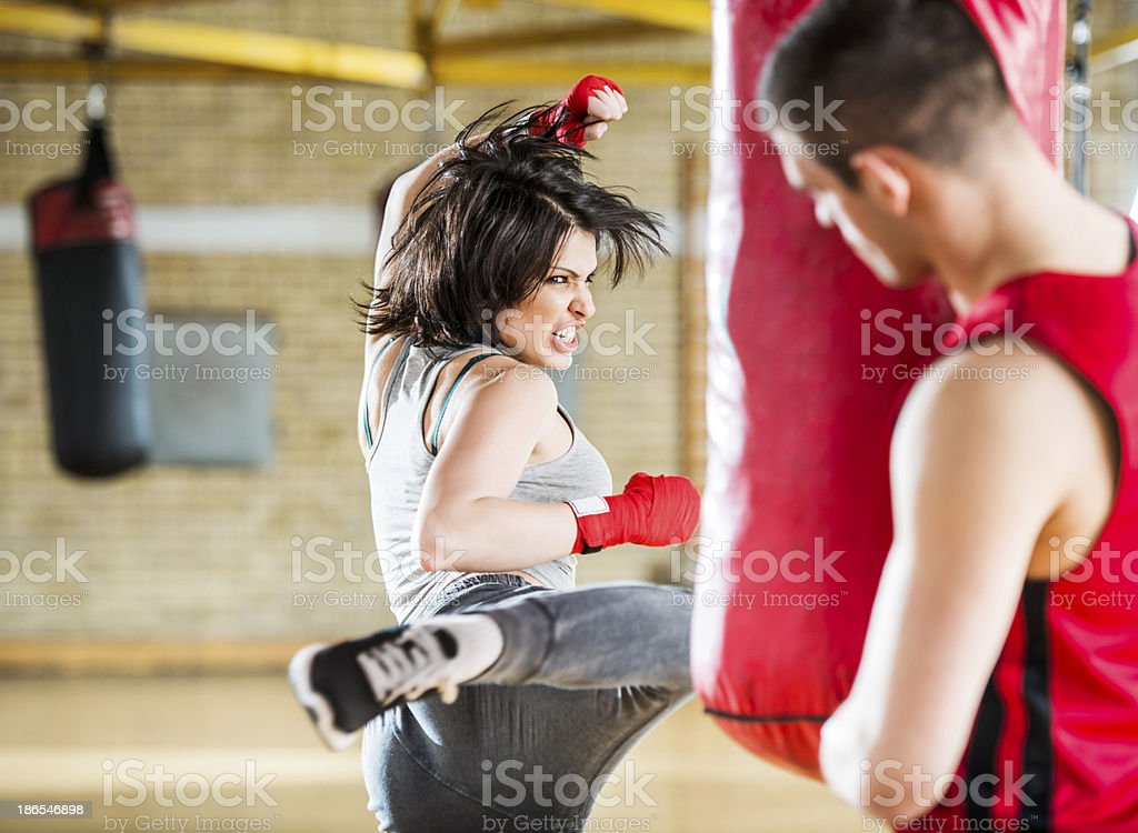 Woman exercising boxing. royalty-free stock photo