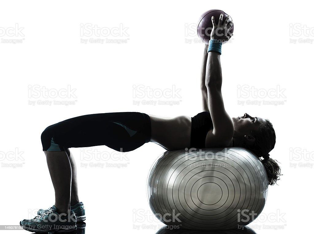 woman exercising fitness ball workout royalty-free stock photo