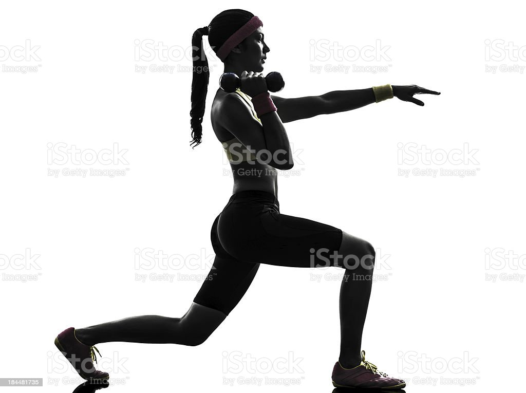woman exercising fitness lunges workout silhouette royalty-free stock photo