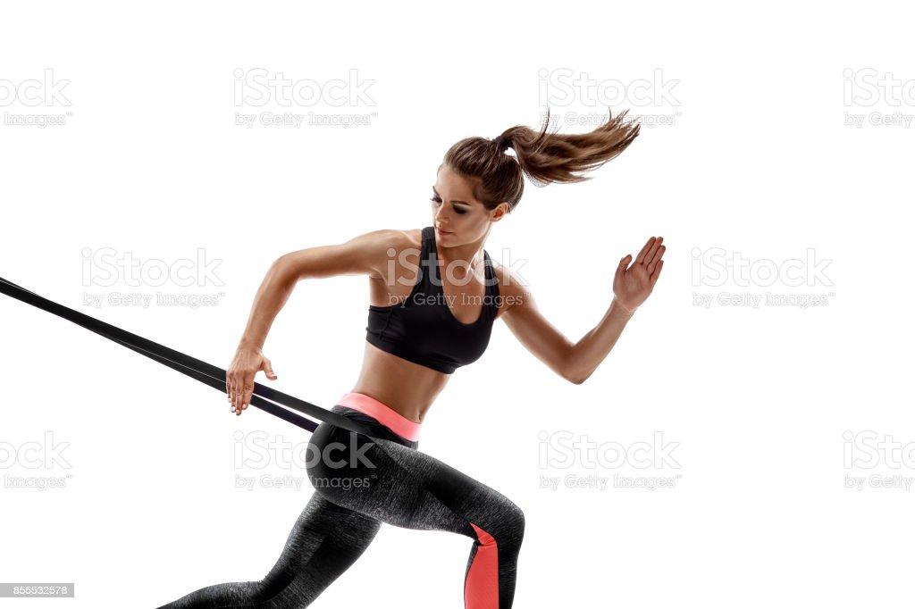 Frau Ausübung Widerstandsbänder Fitness Studio Silhouette isoliert auf weißem Hintergrund Lizenzfreies stock-foto