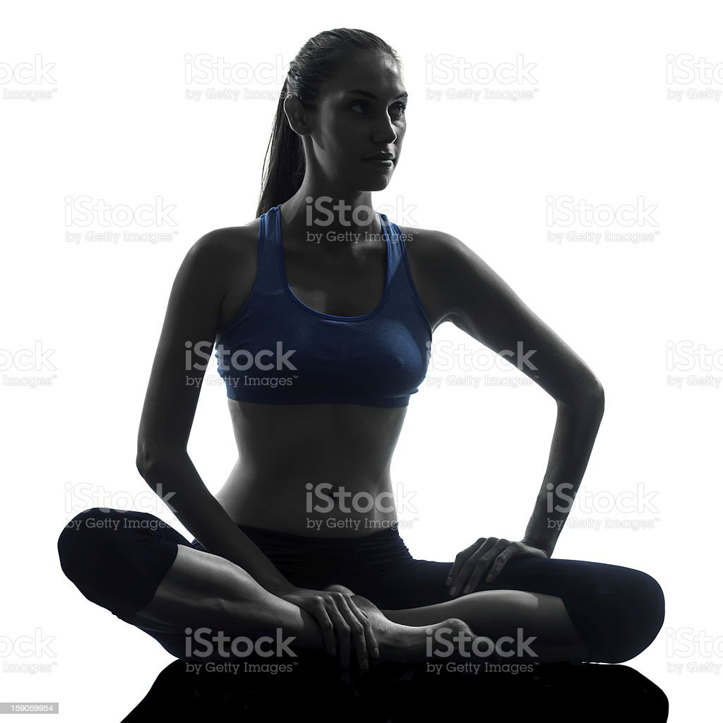 woman exercising fitness resting sitting royalty-free stock photo