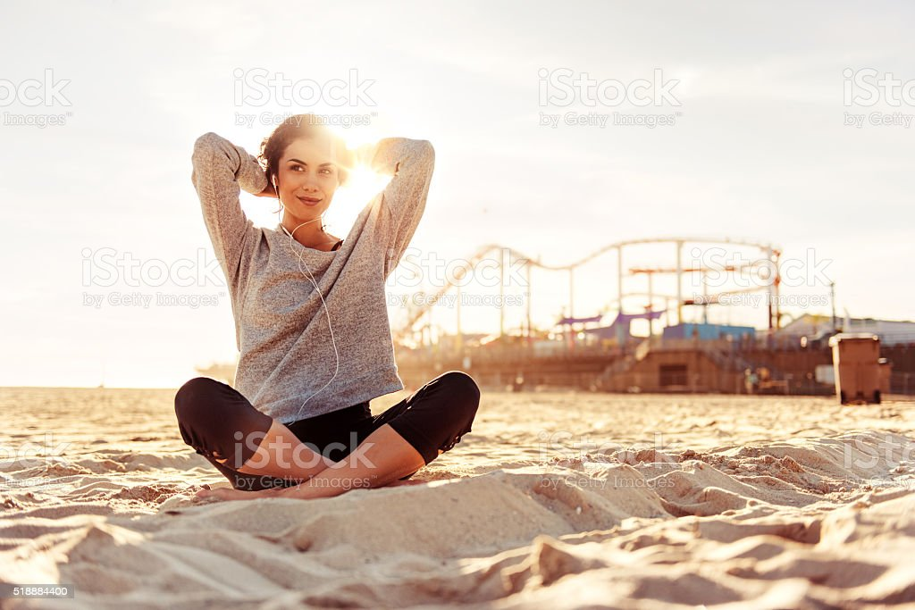 Woman exercising in LA, California stock photo