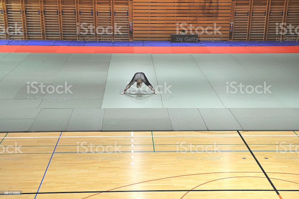 Woman Exercising in Sports Hall royalty-free stock photo