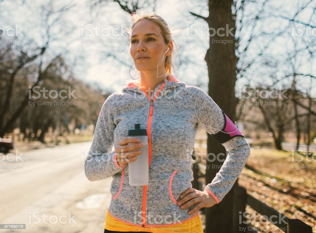 Woman exercising outdoors royalty-free stock photo