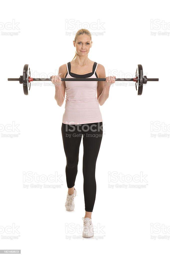 Mujer ejercicio con barra para pesas foto de stock libre de derechos