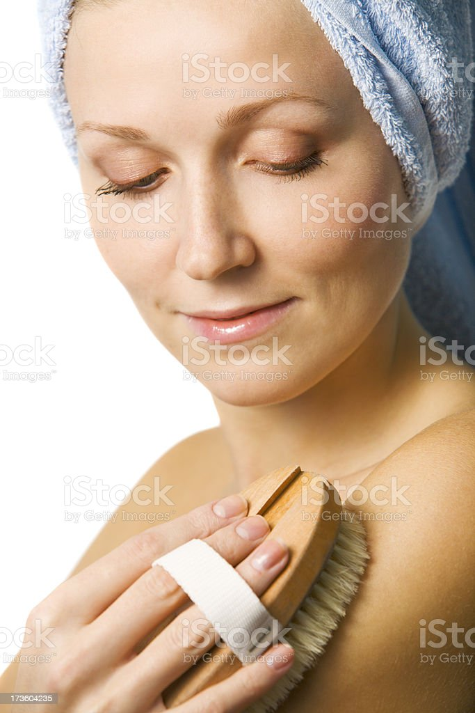 Woman Exfoliating royalty-free stock photo