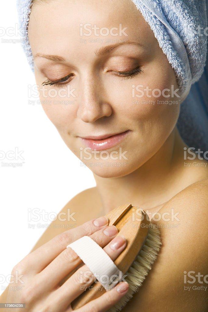 Woman Exfoliating stock photo
