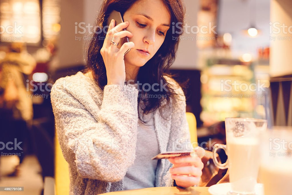 Woman experiencing problems with her credit card stock photo