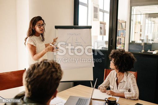 497451790 istock photo Woman explaining new strategies to coworkers 672475586