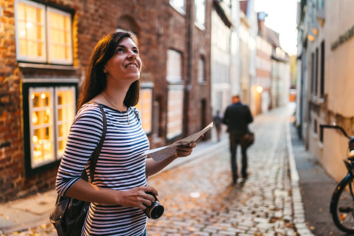 Woman exploring Lubeck old town