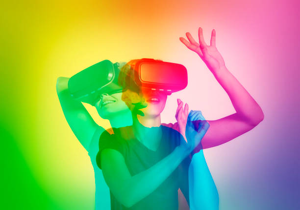 LGBT woman exploring virtual reality. Double exposure stock photo