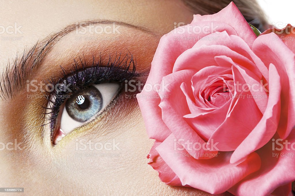 woman eye and rose royalty-free stock photo