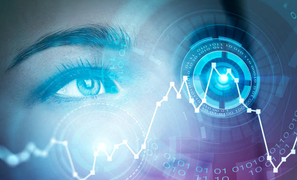 Woman eye in HUD with graphs stock photo