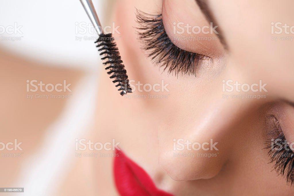 Frau Auge mit schönen Make-up und lange Wimpern.  Wimperntusche Brus – Foto