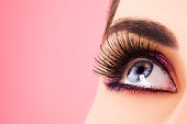Woman eye with long eyelashes