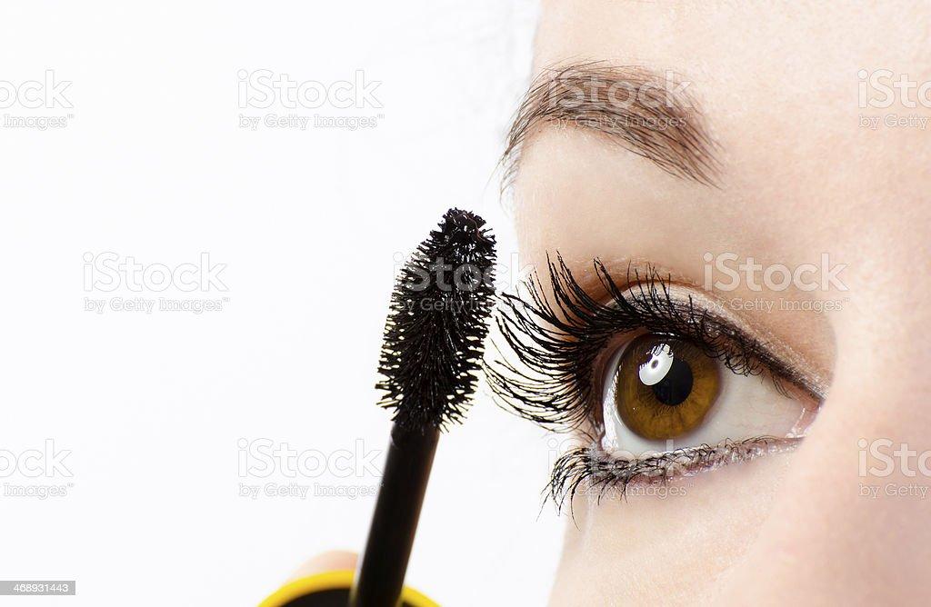 Woman eye with mascara stock photo