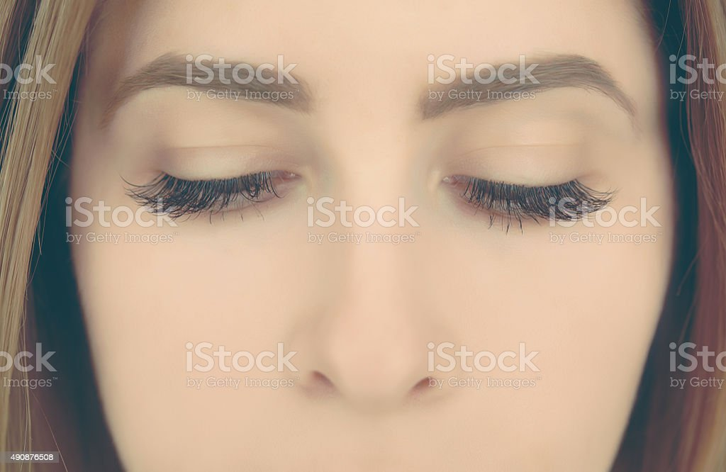 woman eyes looking down stock photo