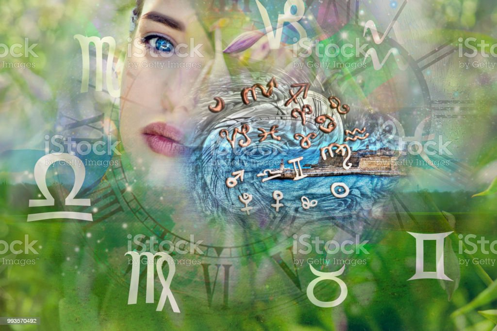 Woman face and zodiac signs stock photo