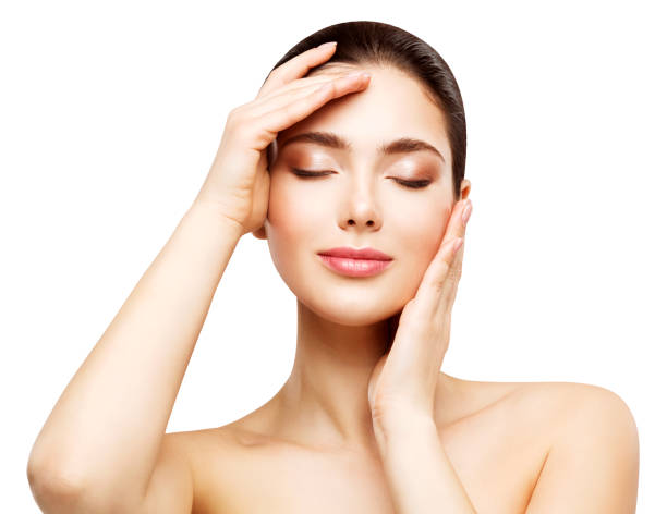 Woman Face Beauty Skin Care, Beautiful Girl Healthy Make Up, Touching Makeup by Hands, Natural Skincare and Treatment stock photo