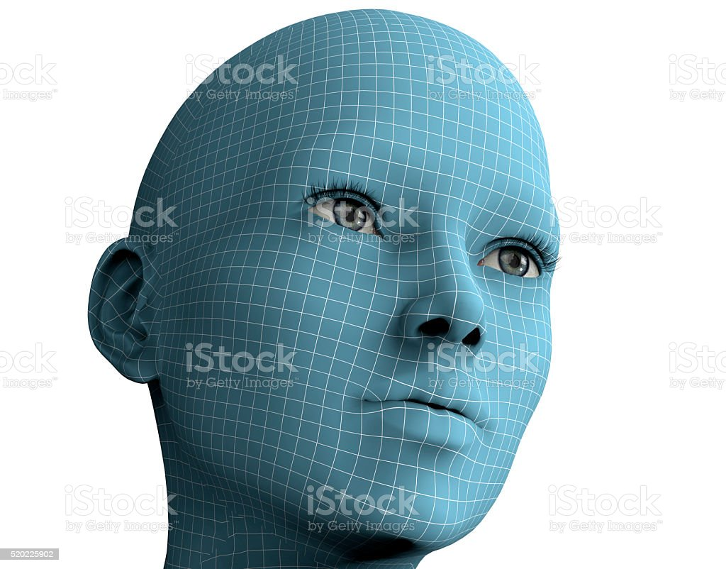 woman face in wireframe lines isolated on white.3D illustration royalty-free stock photo