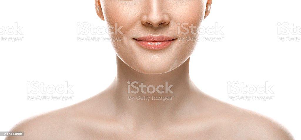 Mujer cara, labios y la nariz estudio fondo blanco - foto de stock