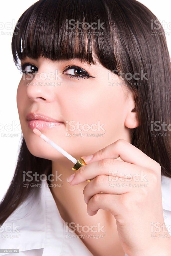 Woman face lipstick make-up royalty-free stock photo