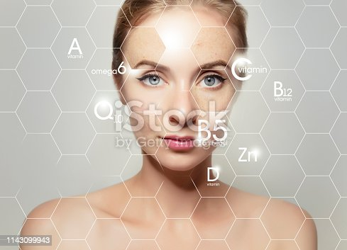 istock woman face portrait with graphic icons of vitamins and minerals for skin treatment 1143099943