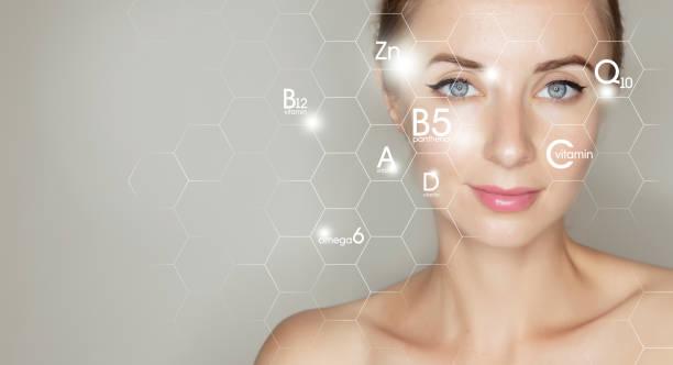 피부 치료를위한 비타민과 미네랄의 그래픽 아이콘과 여자 얼굴 초상화 - 항산화제 뉴스 사진 이미지