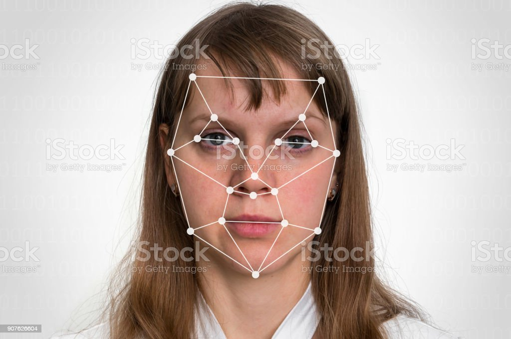 Woman face recognition - biometric verification concept stock photo