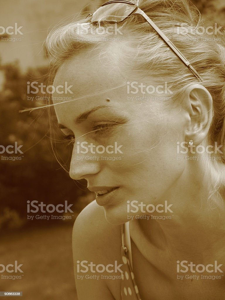 Woman face [sepia] #6 royalty-free stock photo