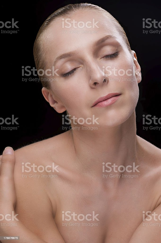 Woman face with closed eyes isolated royalty-free stock photo