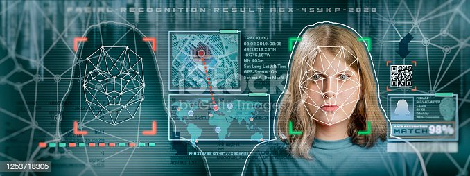 872707982 istock photo Woman facial recognition technology concept GUI for authentication 1253718305