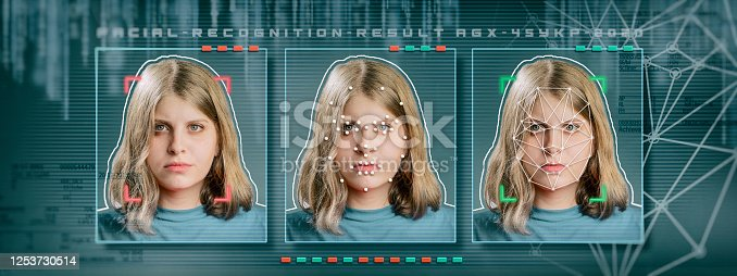 872707982 istock photo Woman facial recognition technology concept GUI for authentication 1253730514