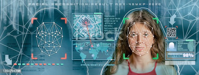 872707982 istock photo Woman facial recognition technology concept GUI for authentication 1254294398