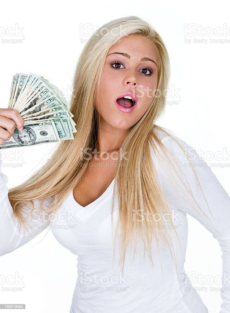Woman fanning herself with money royalty-free stock photo