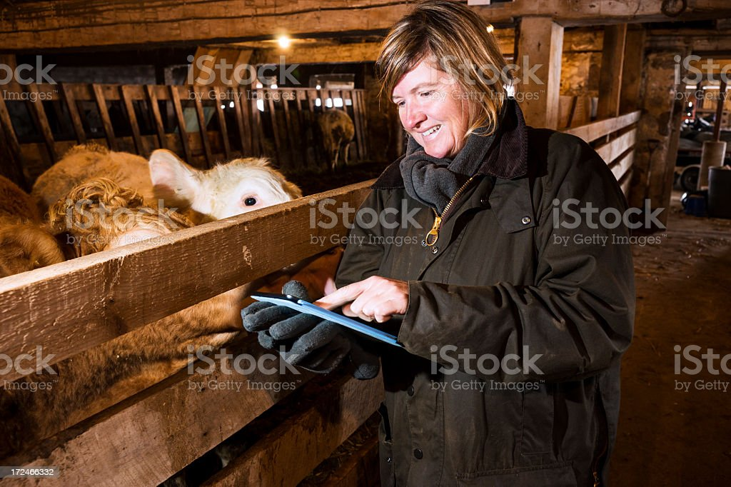 Agriculteur femme à l'aide d'une tablette ordinateur - Photo